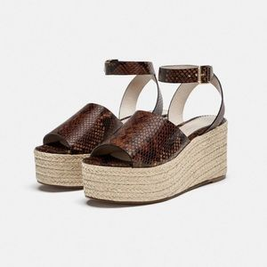 Snake Print Embossed Leather Wedges